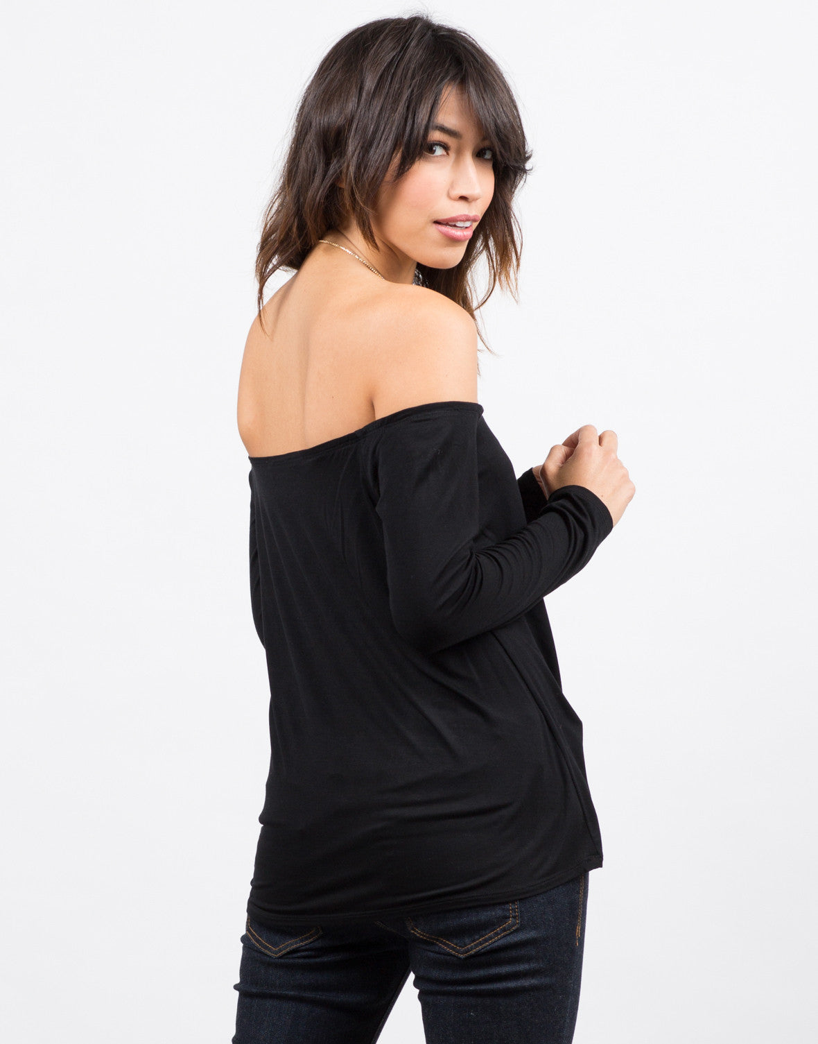 Back View of Open Neck Flowy Tee