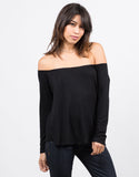 Front View of Open Neck Flowy Tee