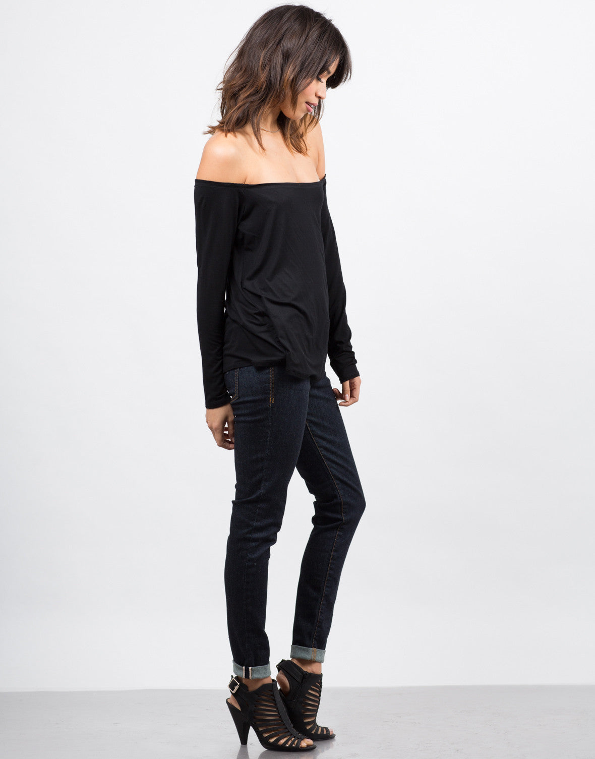 Side View of Open Neck Flowy Tee