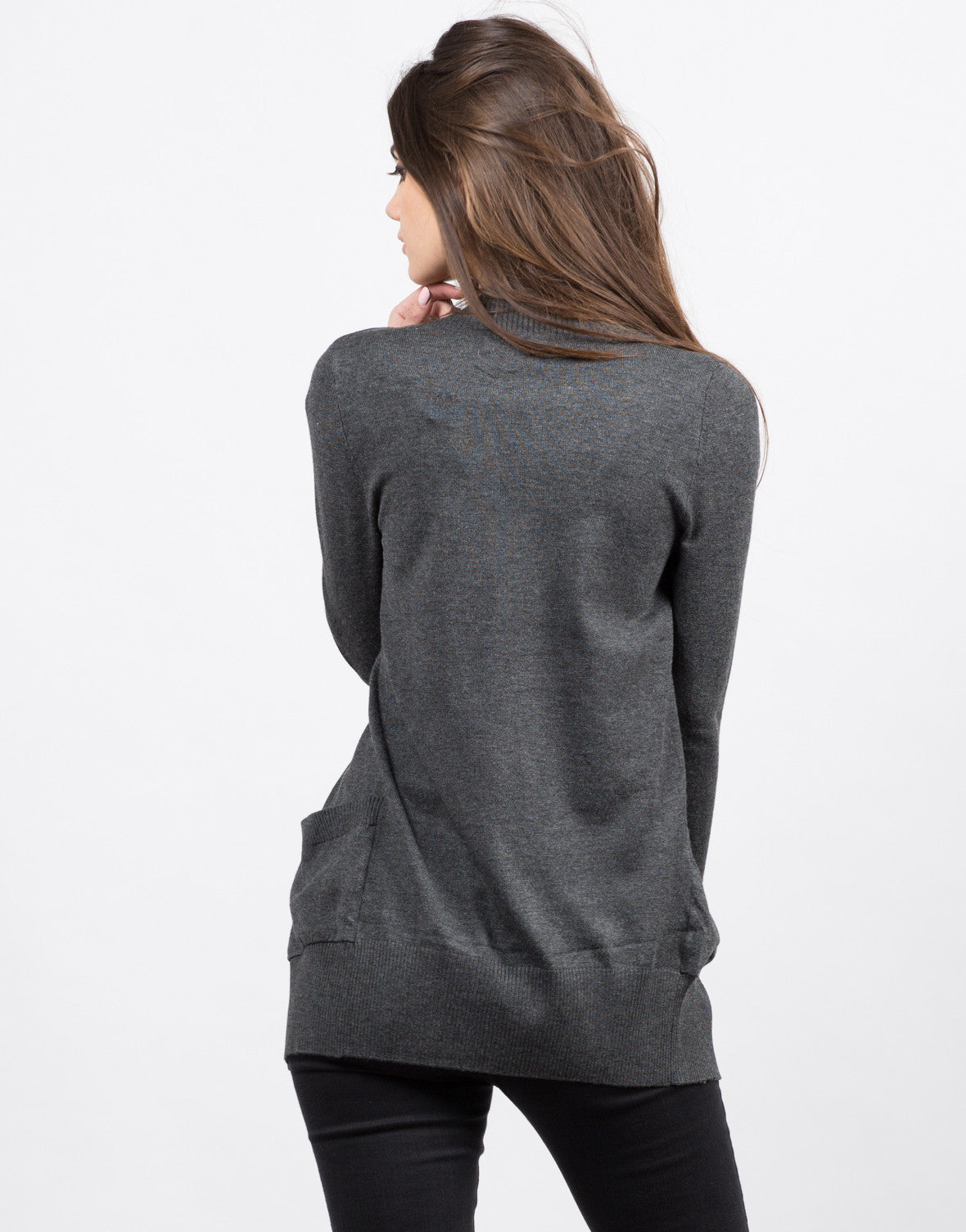 Back View of Open Ribbed Cardigan