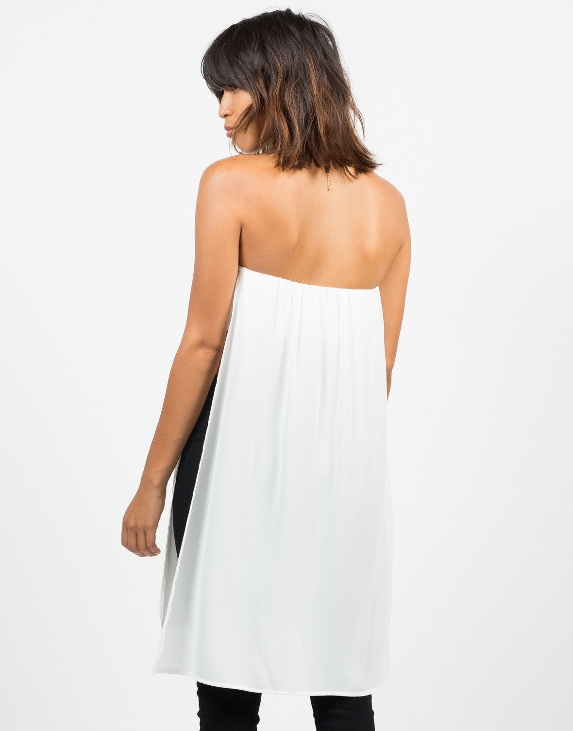 Back View of Open Sides Flowy Top
