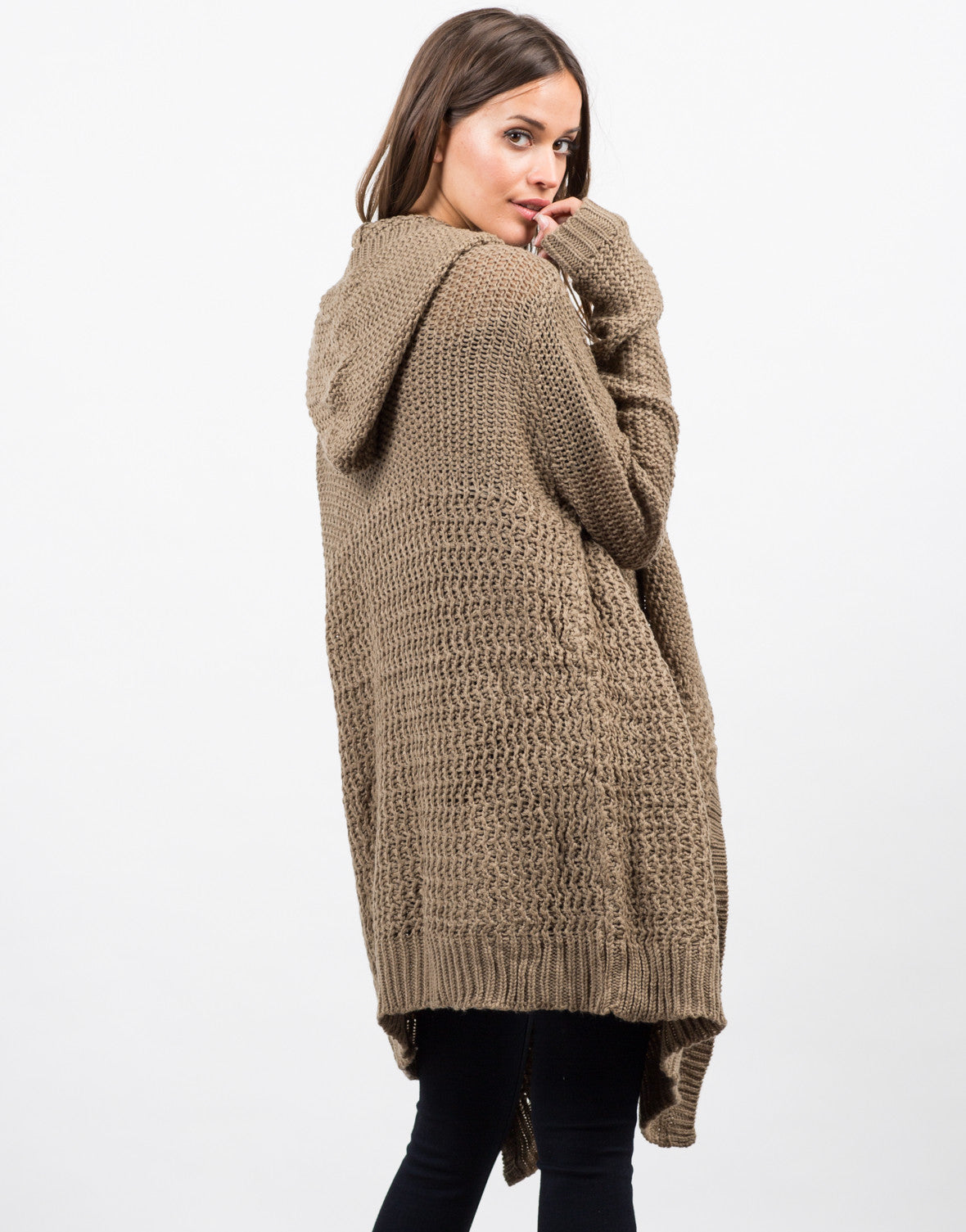 Back View of Open Stitch Hooded Cardigan