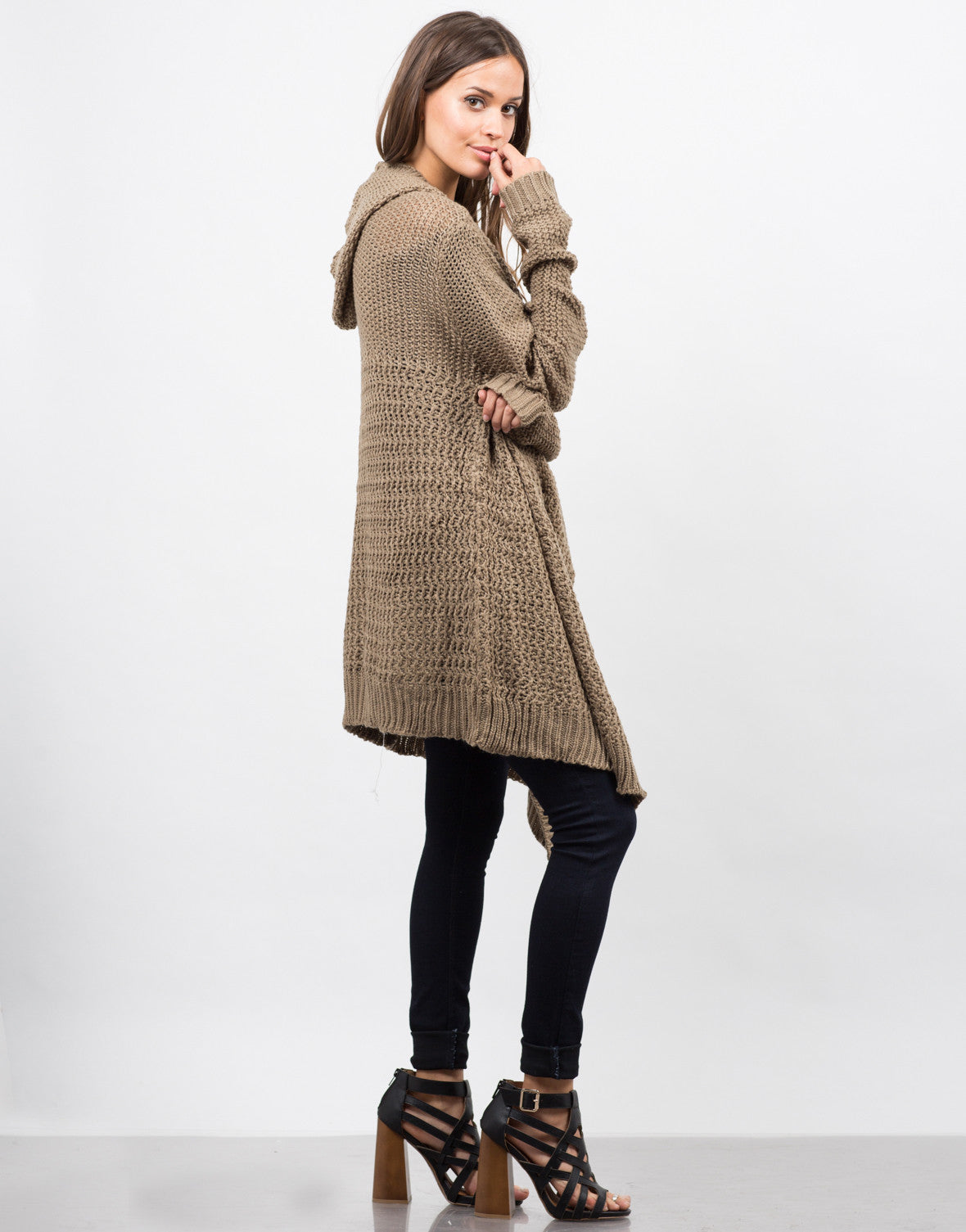 Side View of Open Stitch Hooded Cardigan