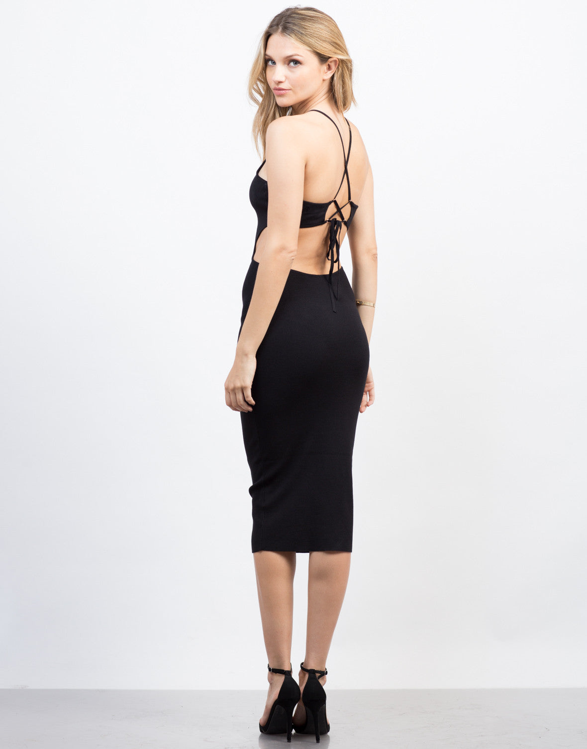 Back View of Open Back Midi Dress