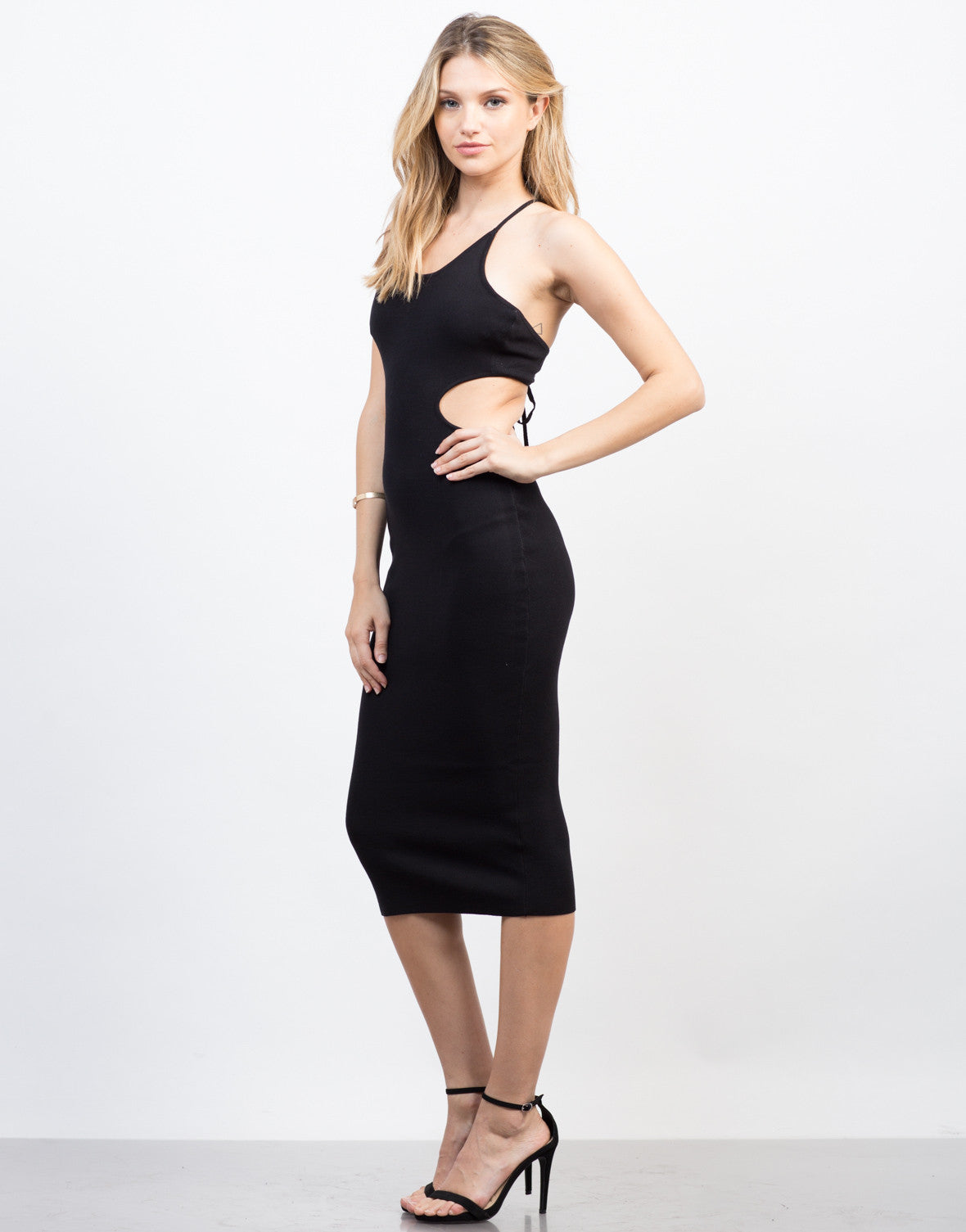 Side View of Open Back Midi Dress