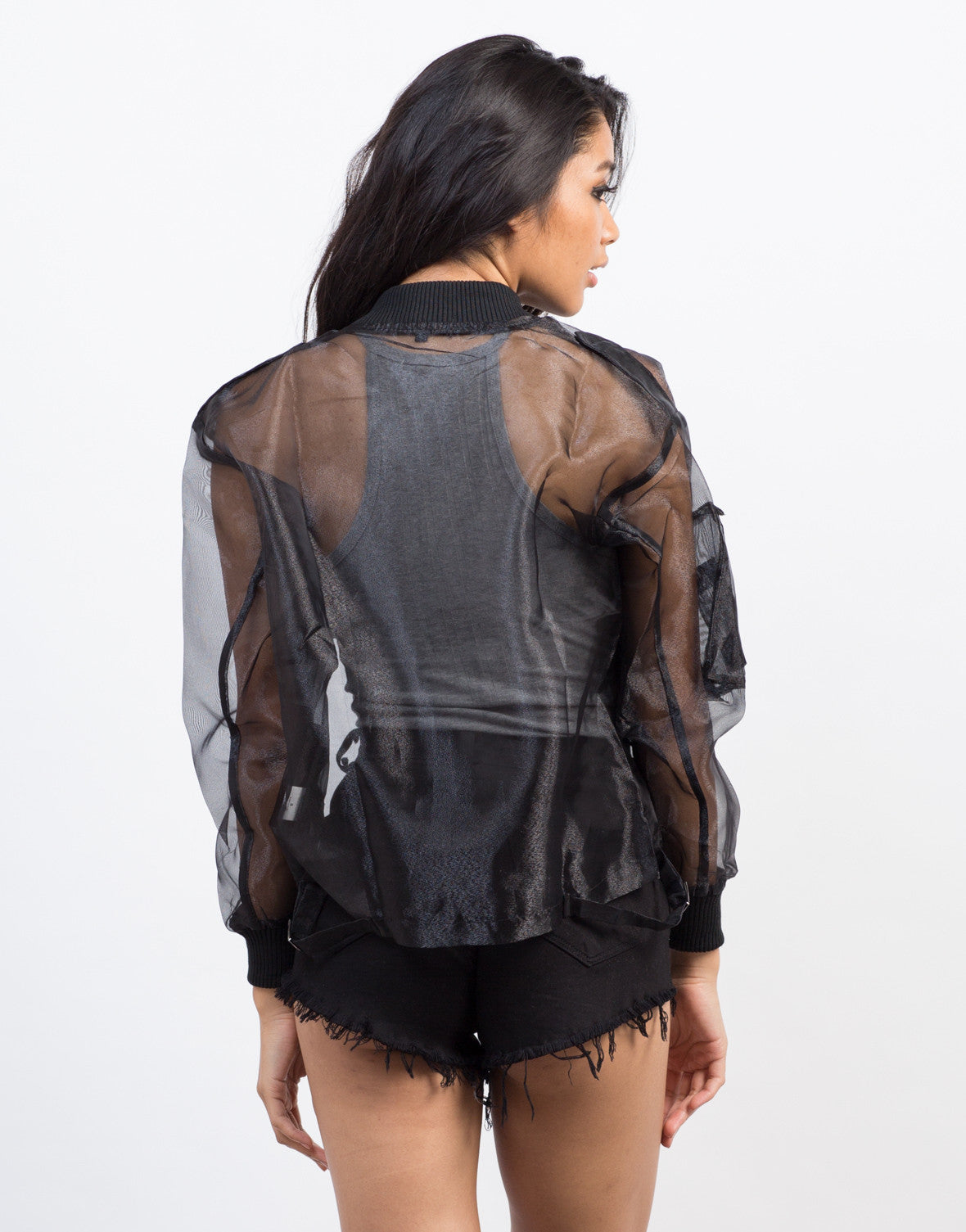 Back View of Organza Bomber Jacket