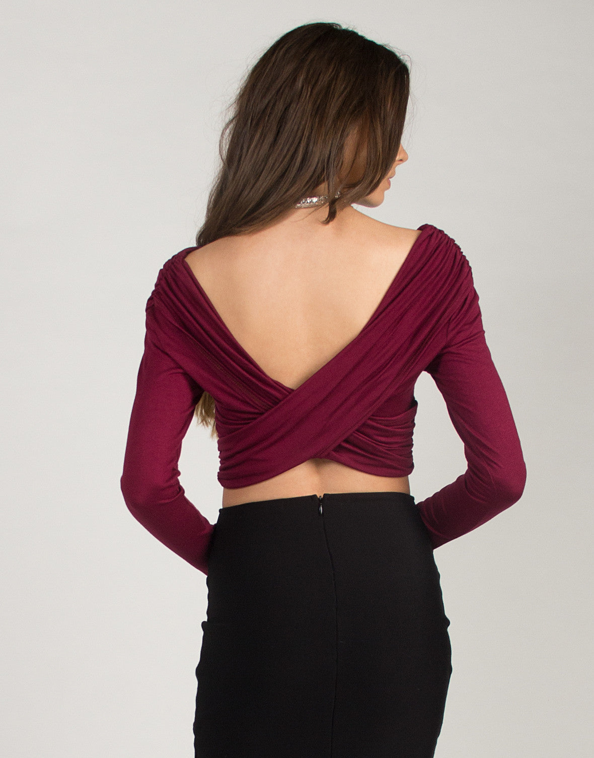 Overlapping Cropped Top - Burgundy - 2020AVE