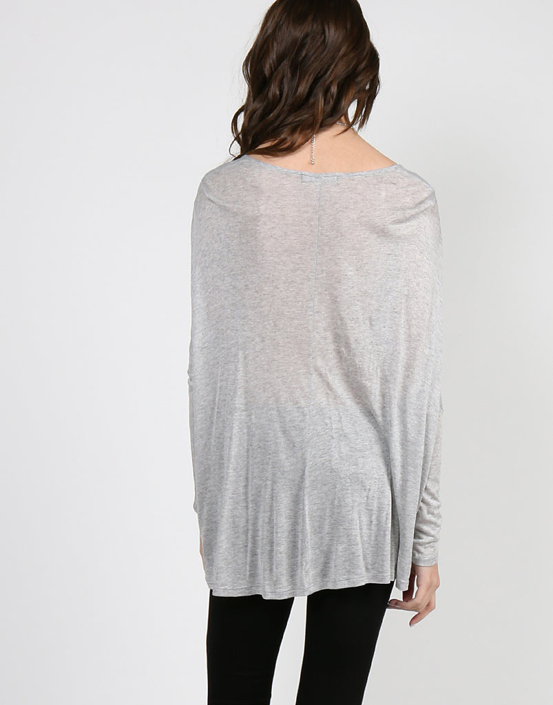 Overlapping Draped Jersey Top - 2020AVE