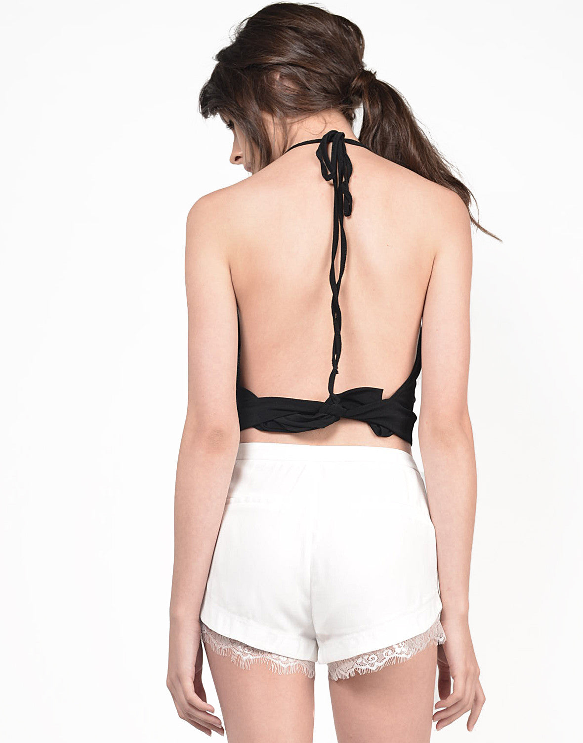 Back View of Overlapping Keyhole Halter Top