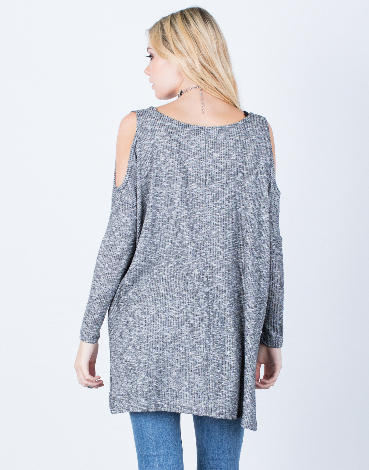Back View of Oversize Cold Shoulder Top