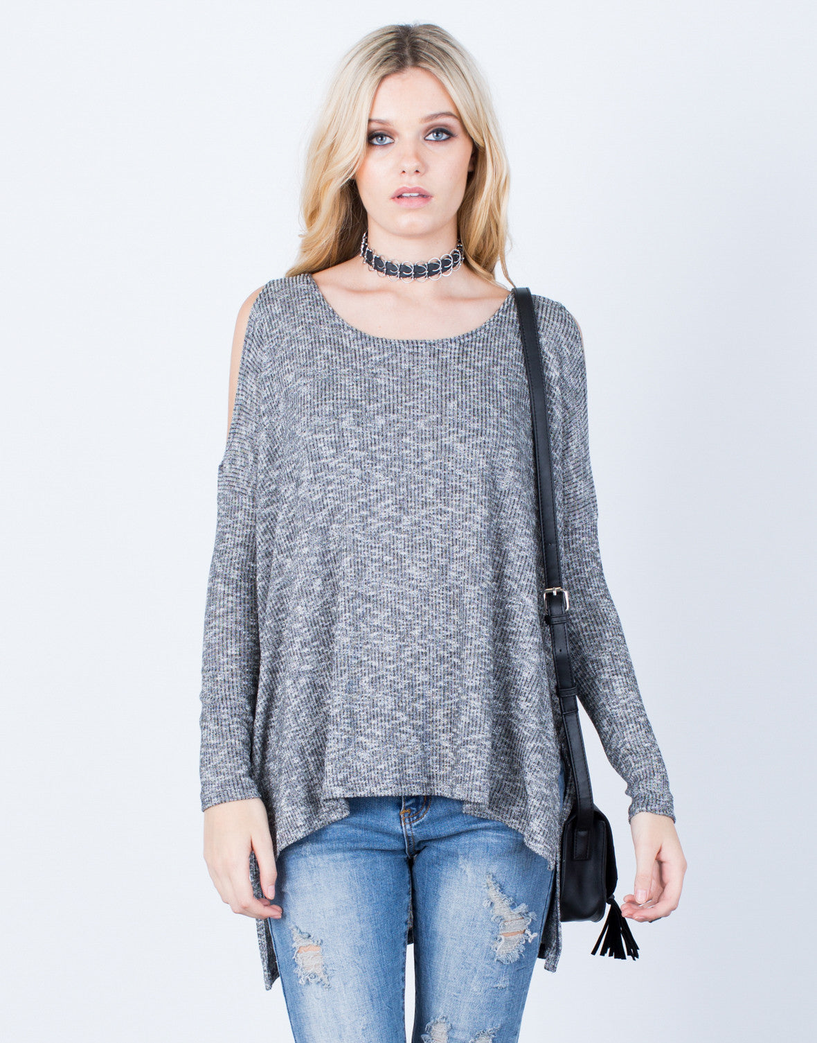Front View of Oversize Cold Shoulder Top