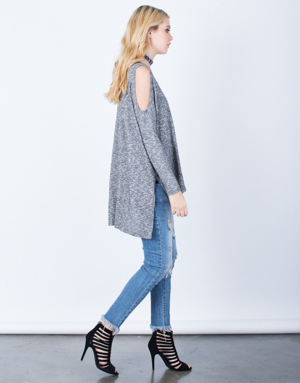 Side View of Oversize Cold Shoulder Top