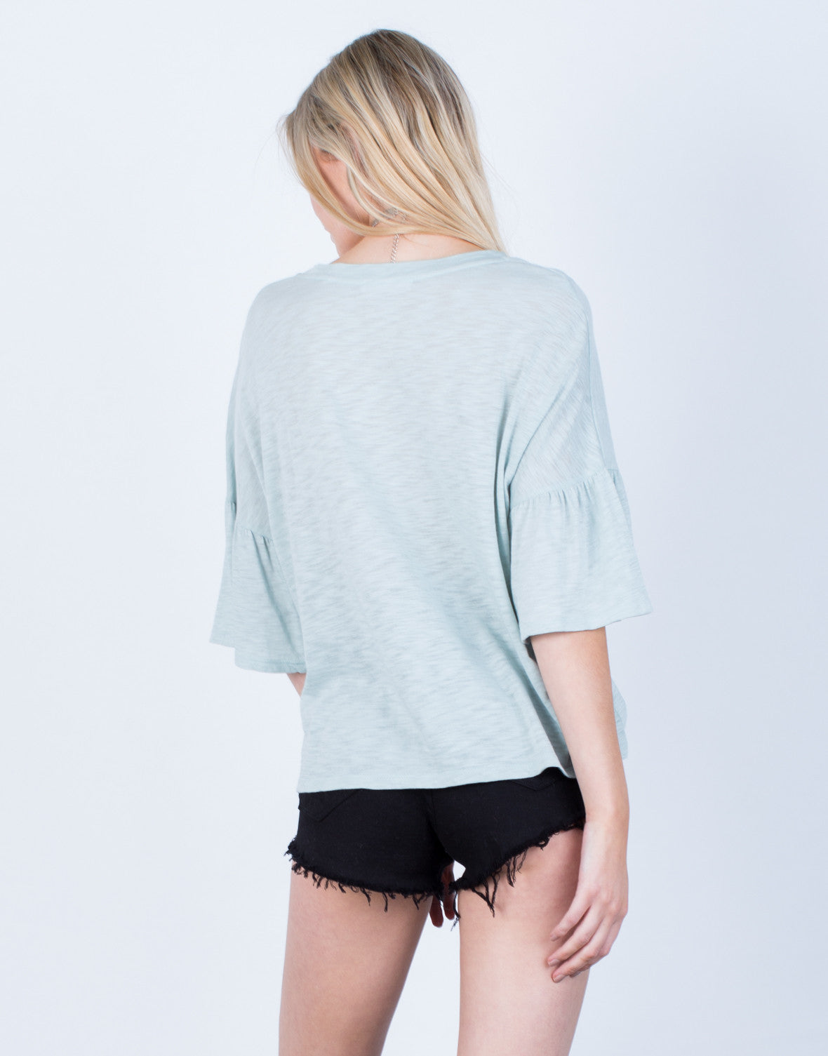 Back View of Oversized Bell Sleeve Top