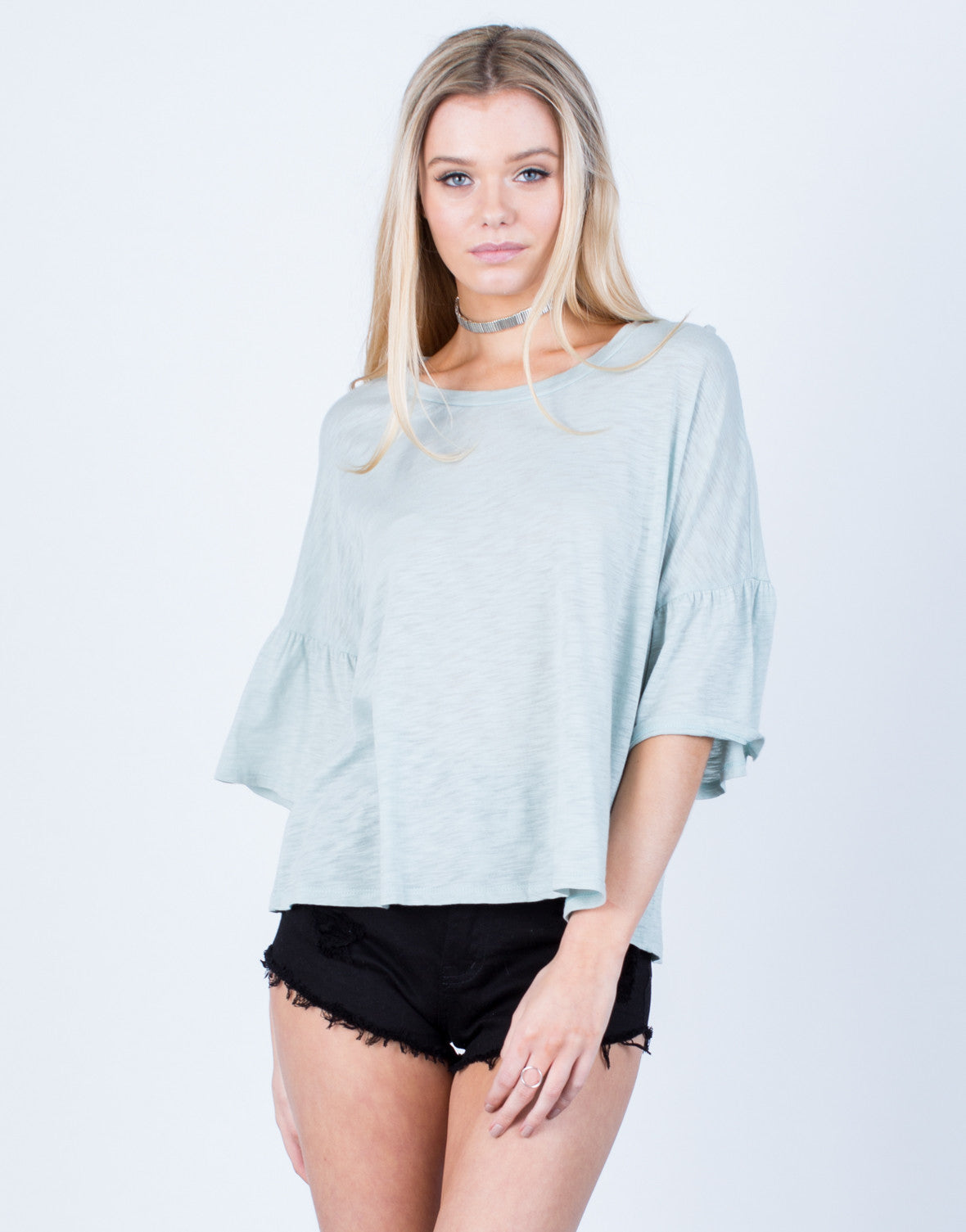 Front View of Oversized Bell Sleeve Top