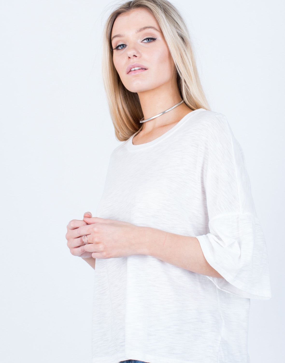 Detail of Oversized Bell Sleeve Top