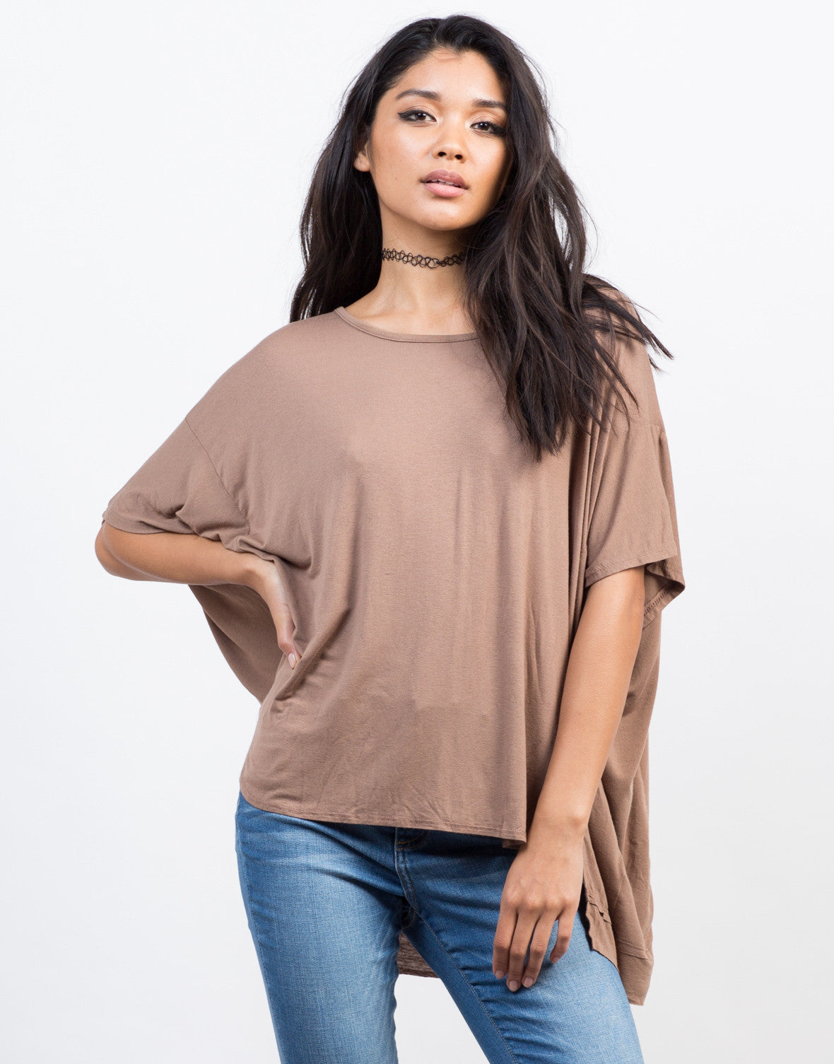 Front View of Oversized Boxy Basic Tee