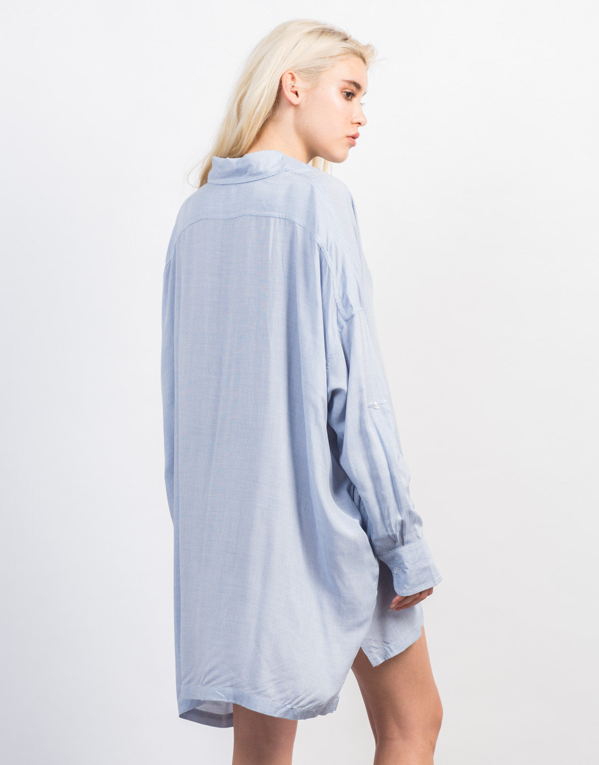 Back View of Oversized Button Up Shirt