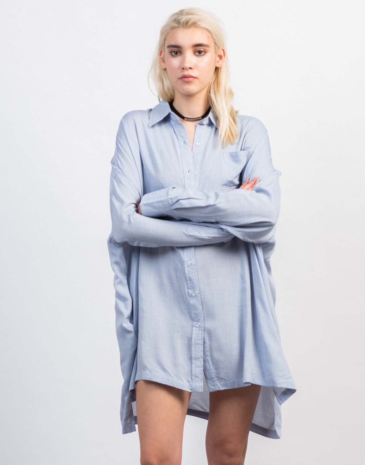 Front View of Oversized Button Up Shirt