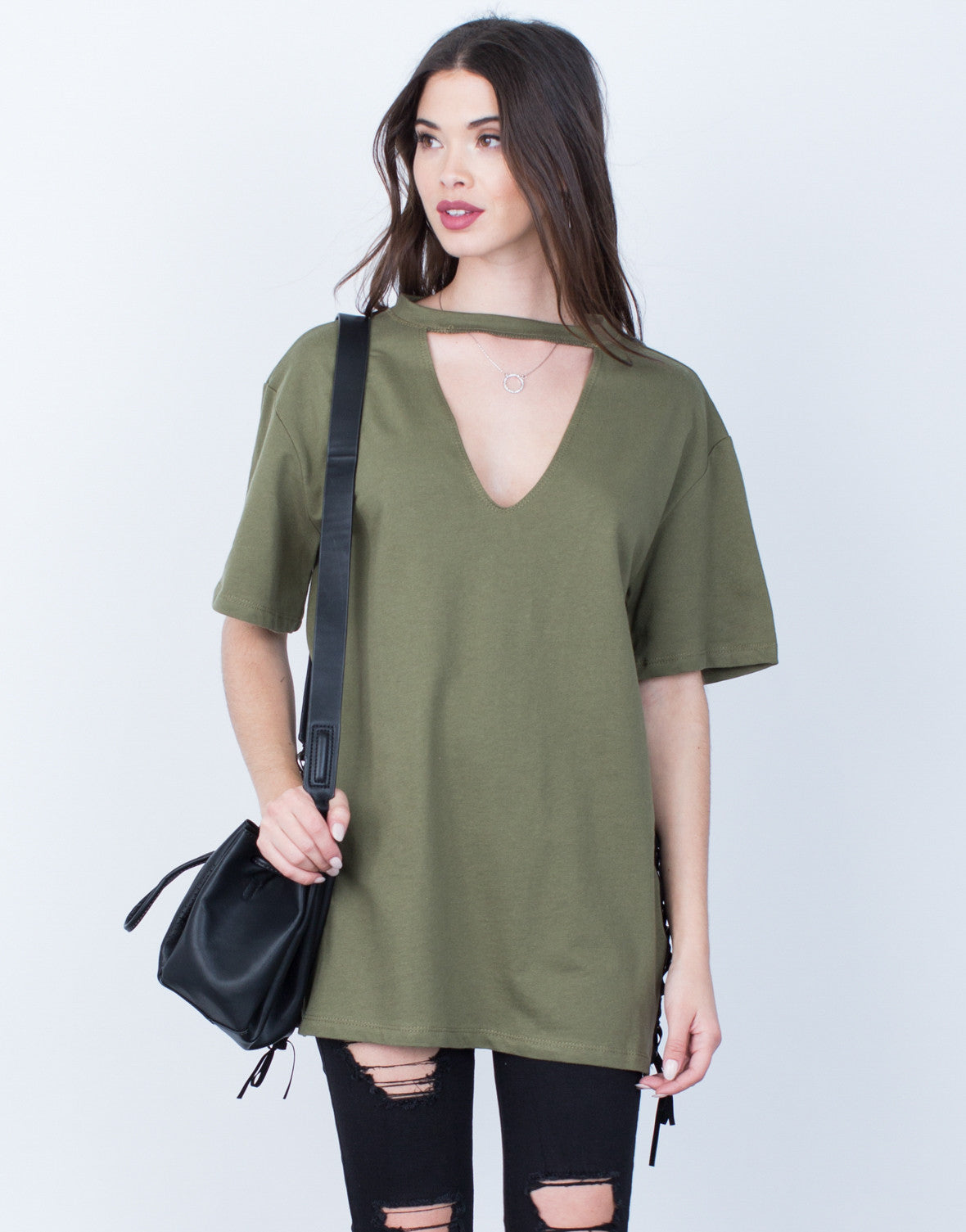 Oversized Choker Neck Tee