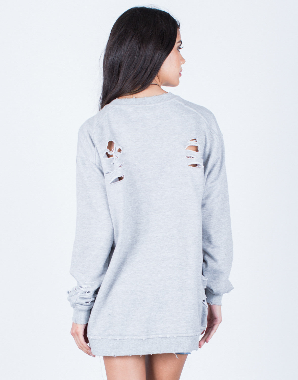 Back View of Oversized Destroyed Sweater