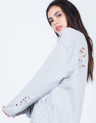 Detail of Oversized Destroyed Sweater