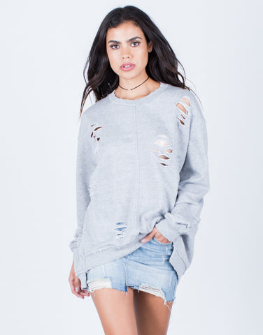 Front View of Oversized Destroyed Sweater