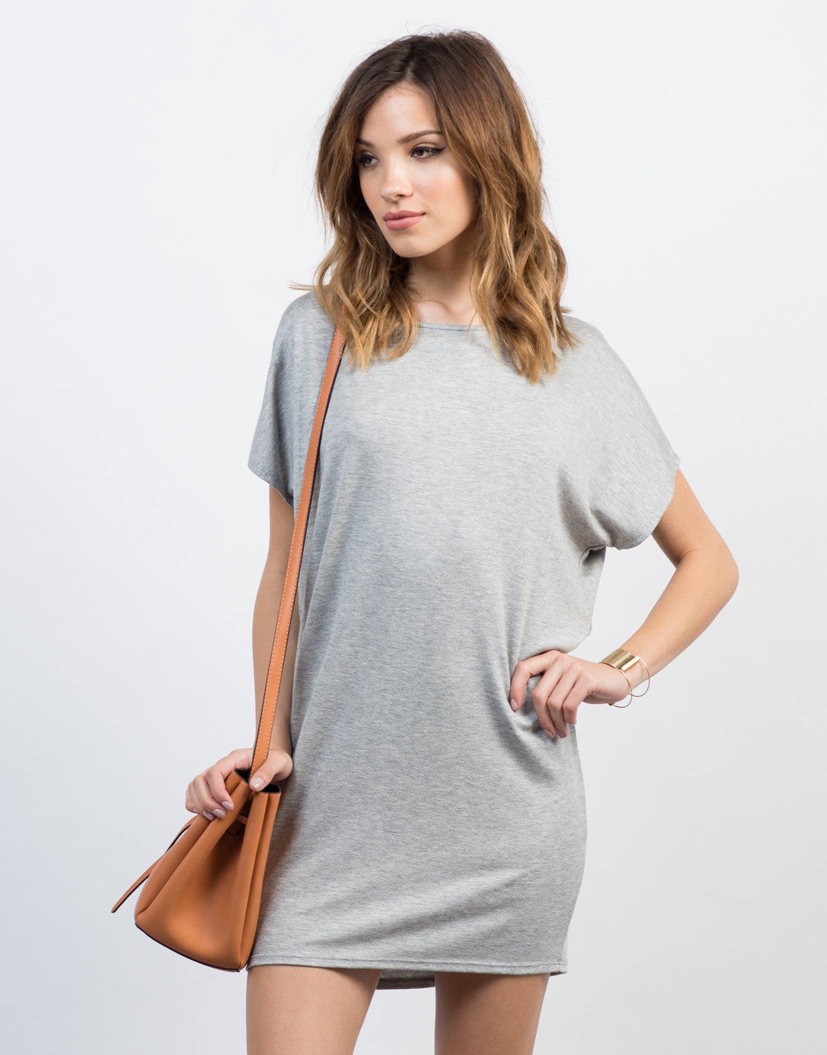 Front View of Oversized Dolman Dress