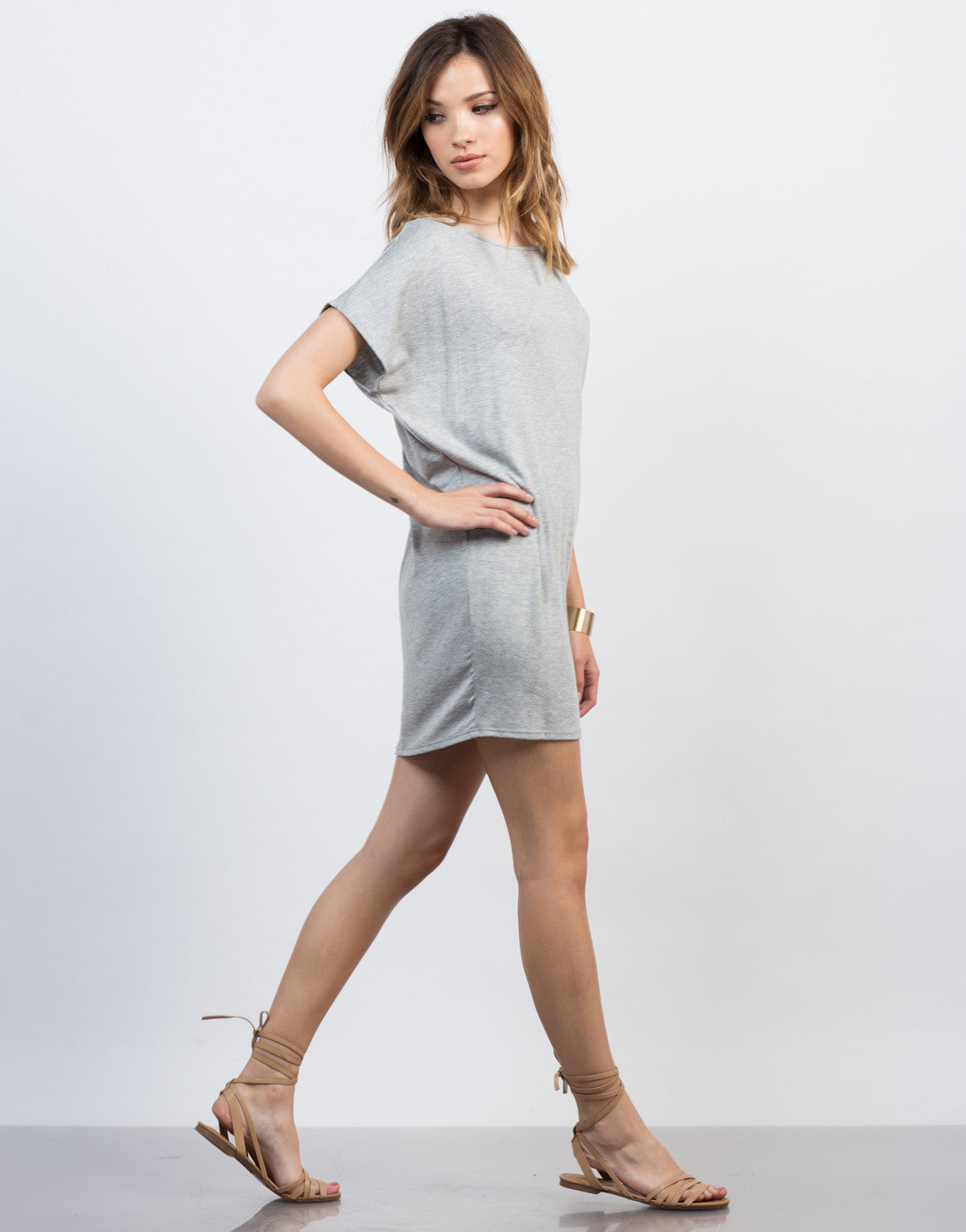 Side View of Oversized Dolman Dress