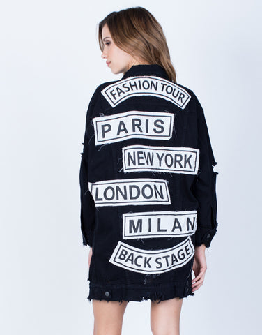 Back View of Oversized Fashion Tour Denim Jacket