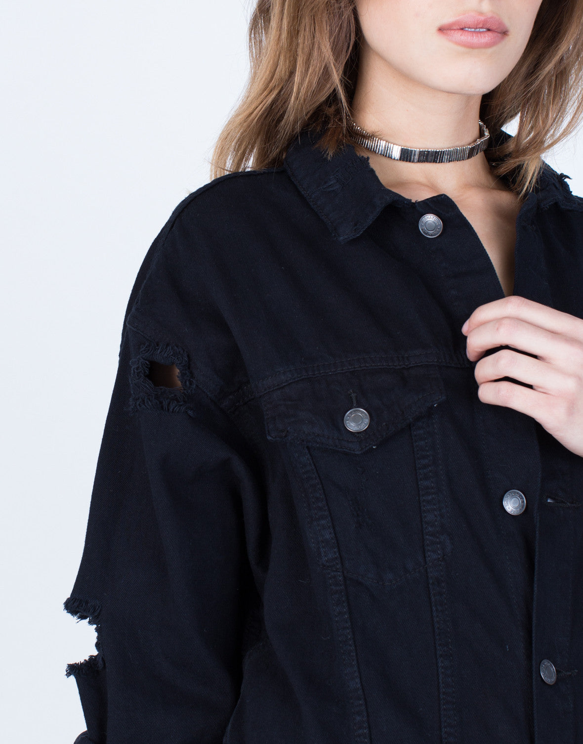 Detail of Oversized Fashion Tour Denim Jacket