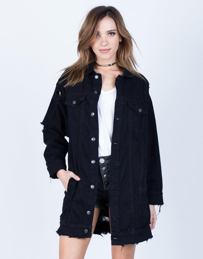 Front View of Oversized Fashion Tour Denim Jacket