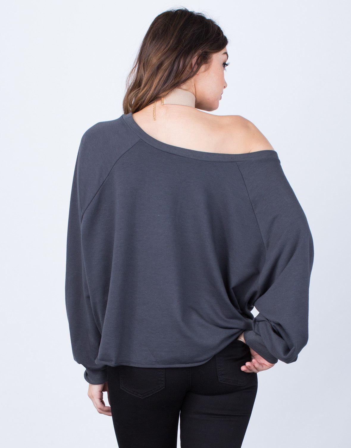 Back View of Oversized Front Tie Sweater