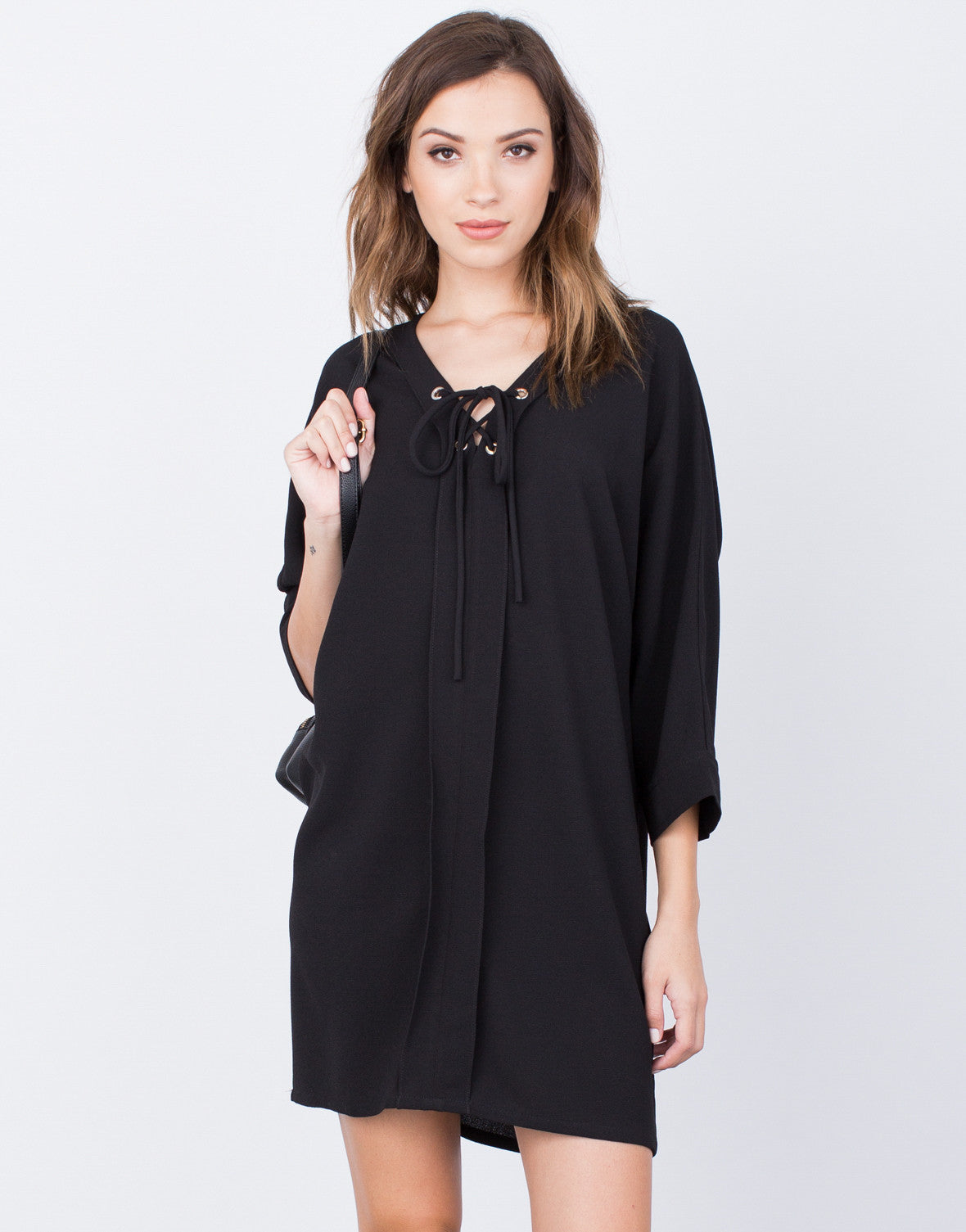 Front View of Oversized Lace-Up Dress