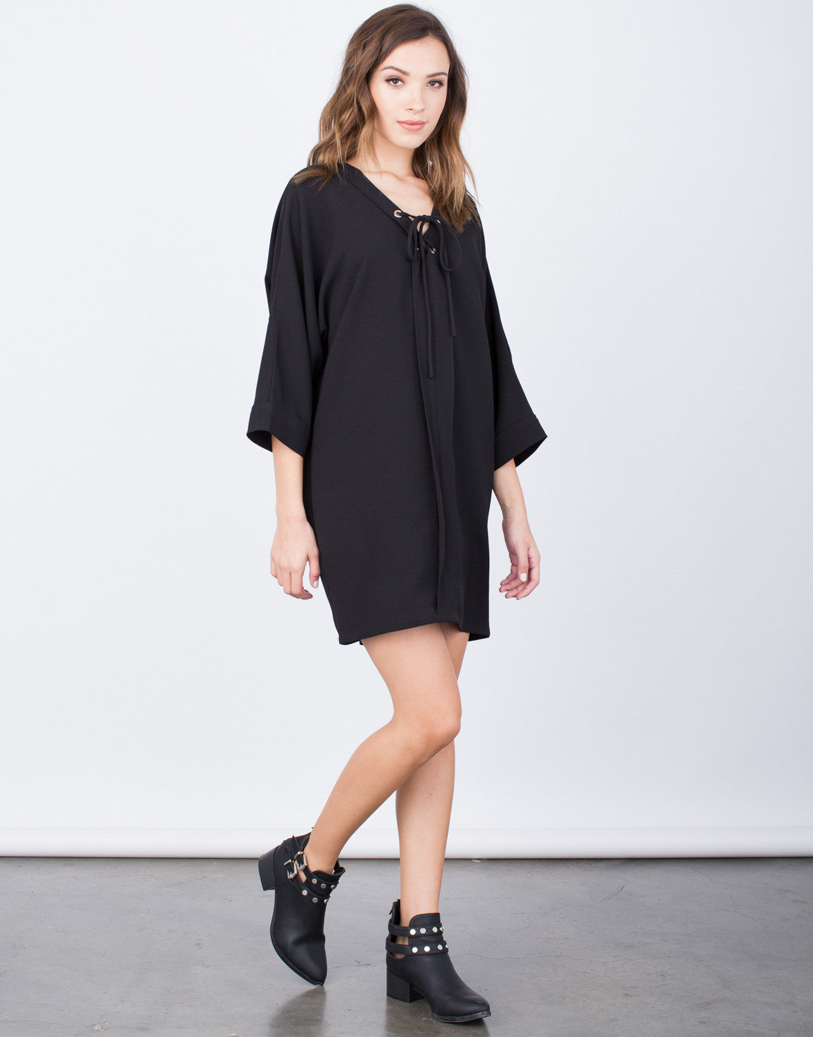 Side View of Oversized Lace-Up Dress