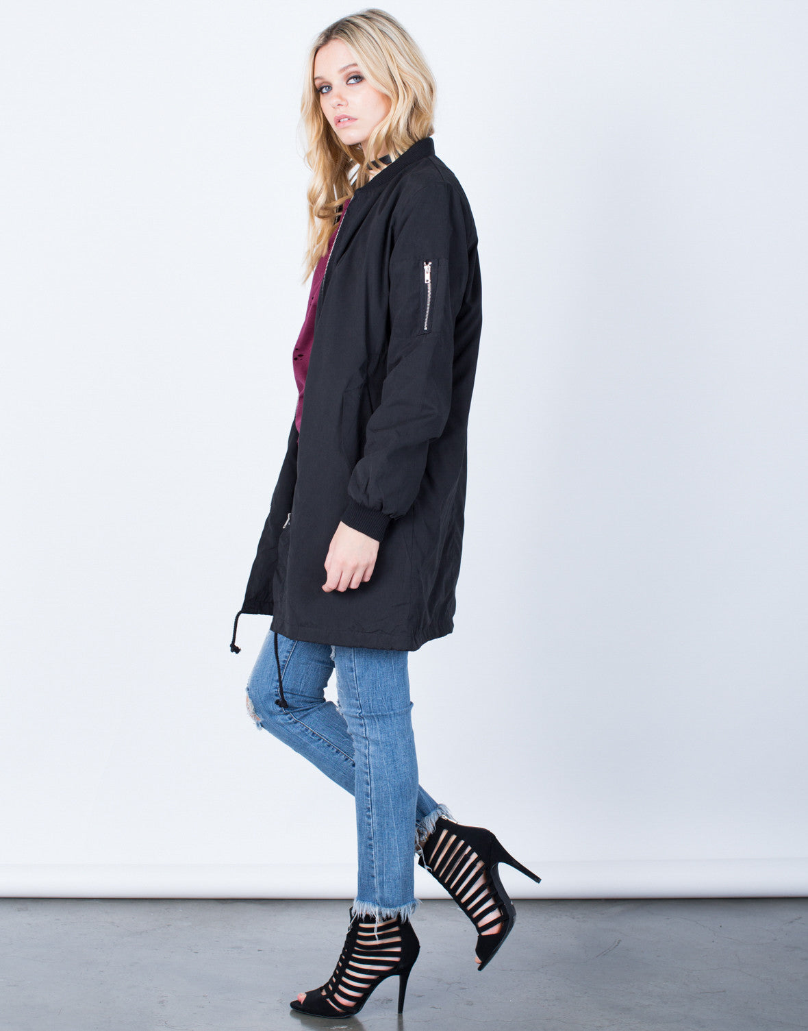 Side View of Oversized Longline Bomber Jacket