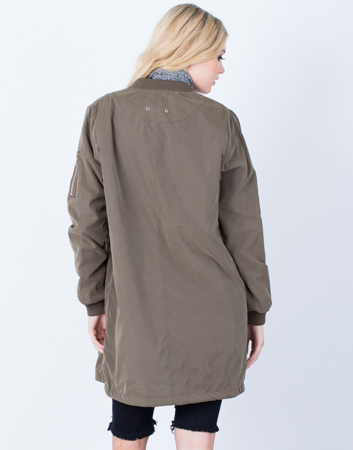 Back View of Oversized Longline Bomber Jacket
