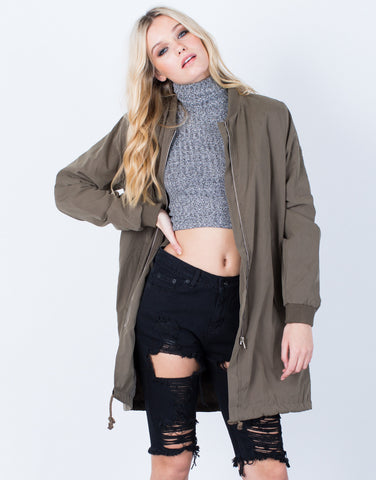 Front View of Oversized Longline Bomber Jacket