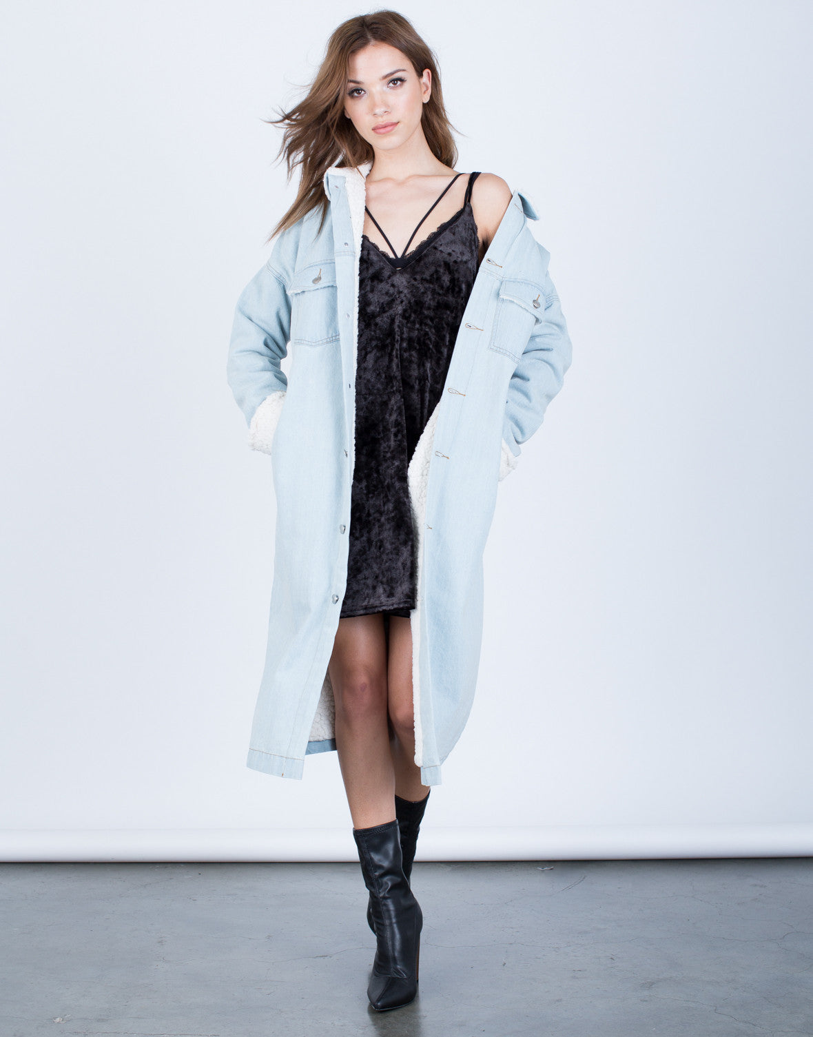 Front View of Oversized Longline Denim Jacket