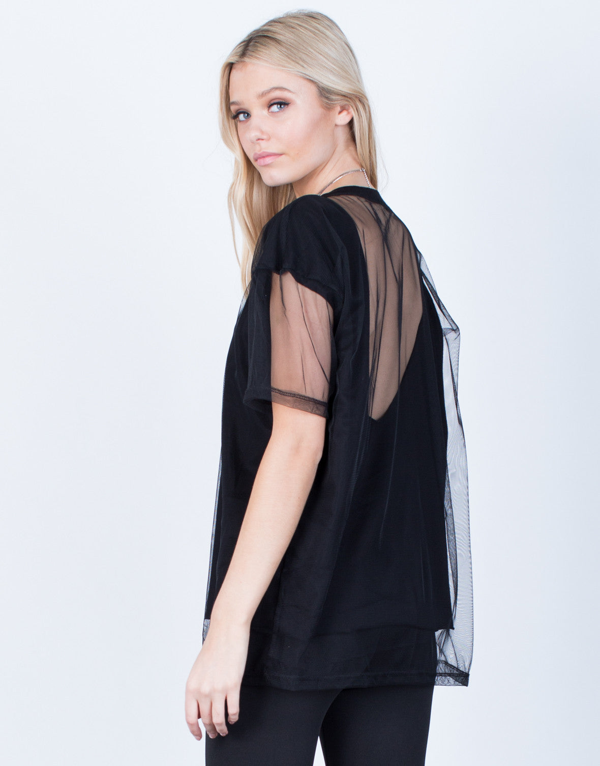 Back View of Oversized Mesh Contrast Tee