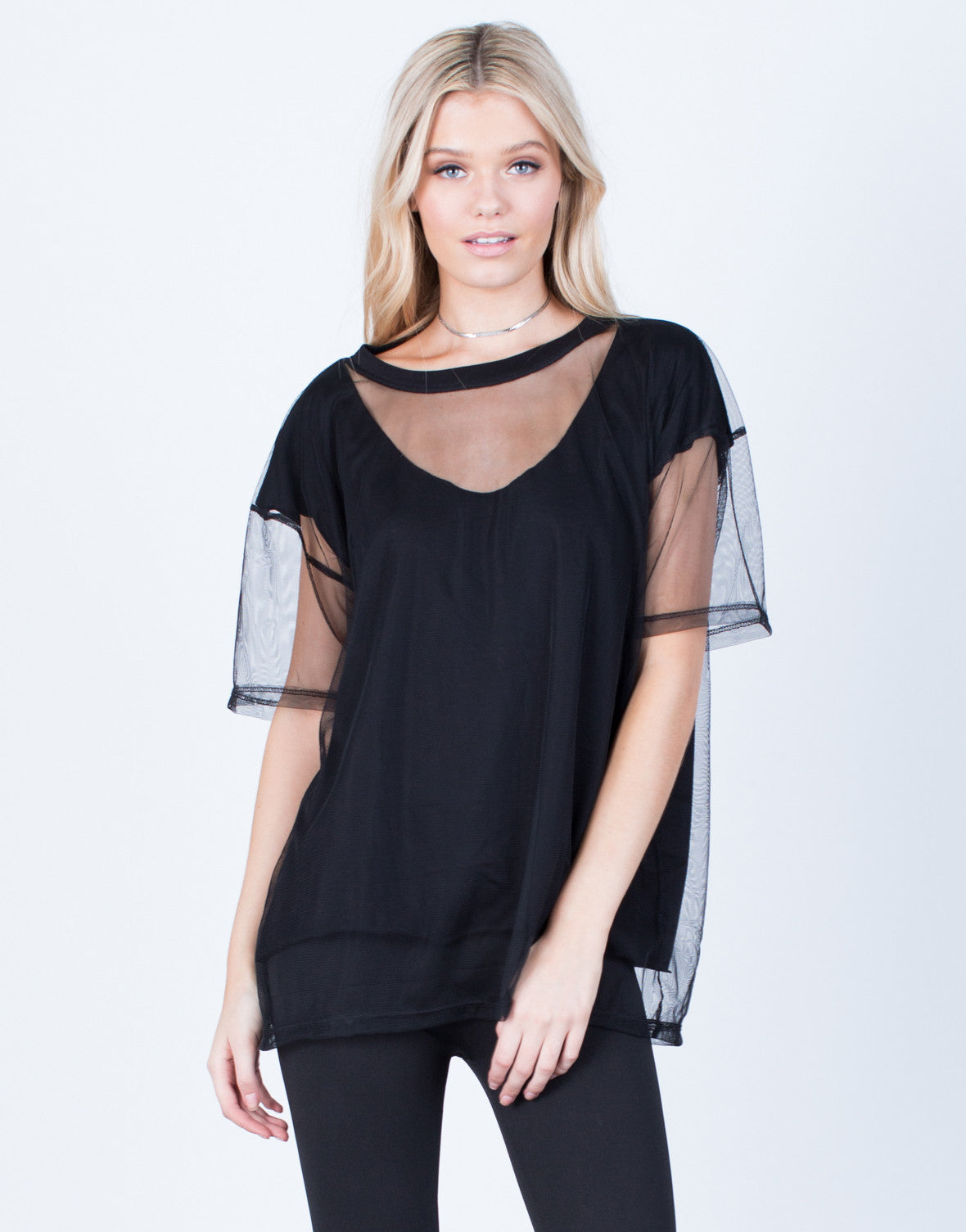 Front View of Oversized Mesh Contrast Tee