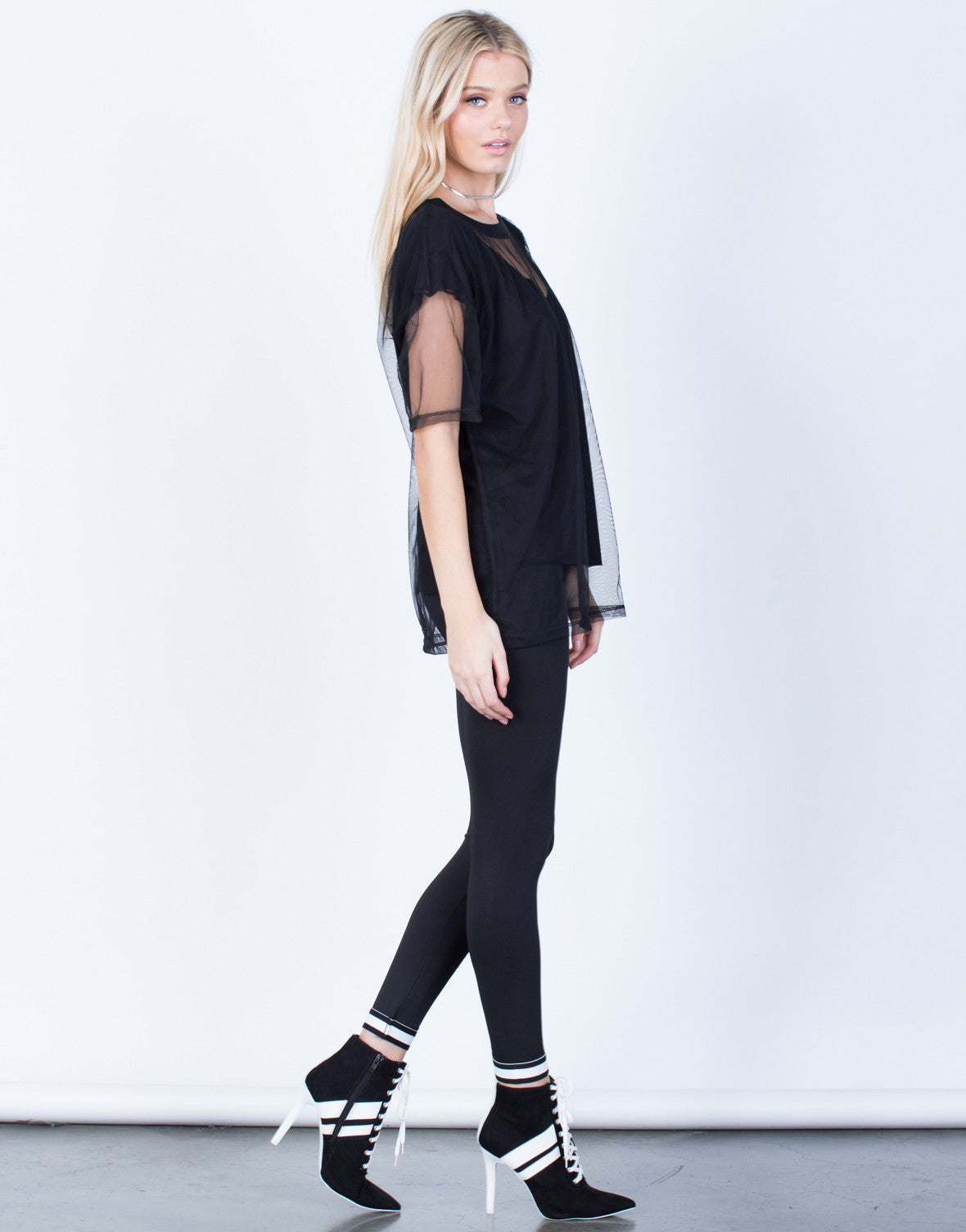 Side View of Oversized Mesh Contrast Tee