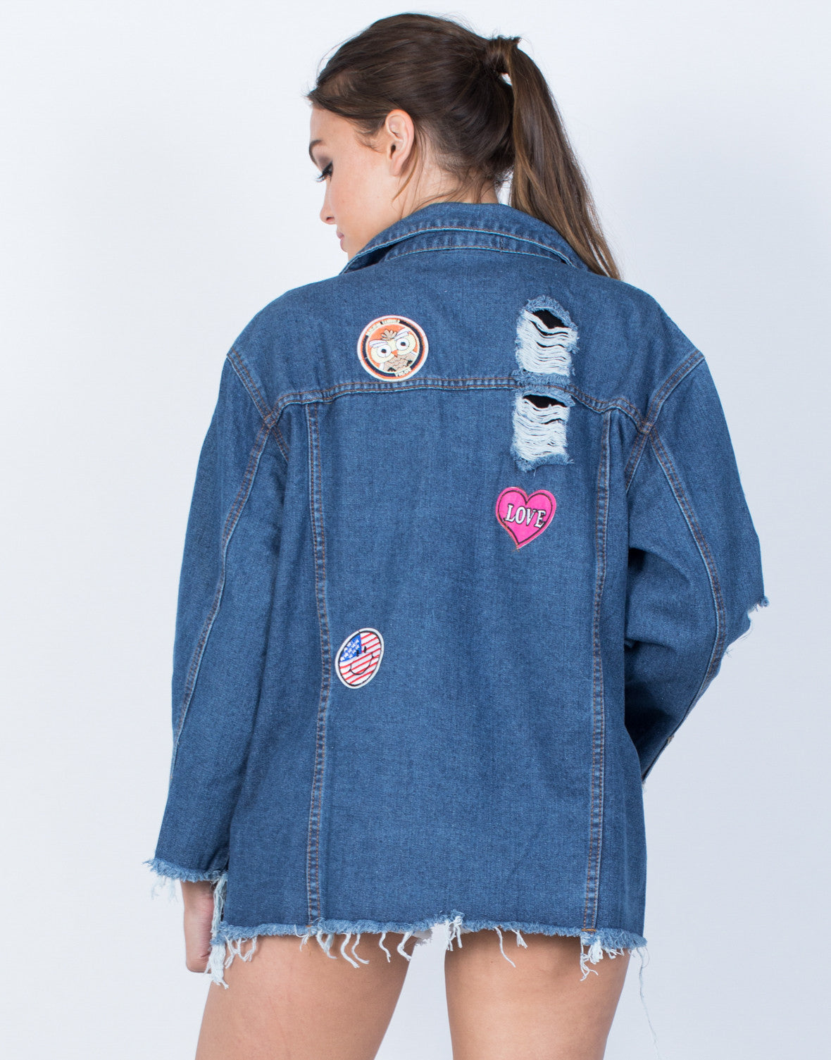 Oversized Patched Denim Jacket - 2020AVE
