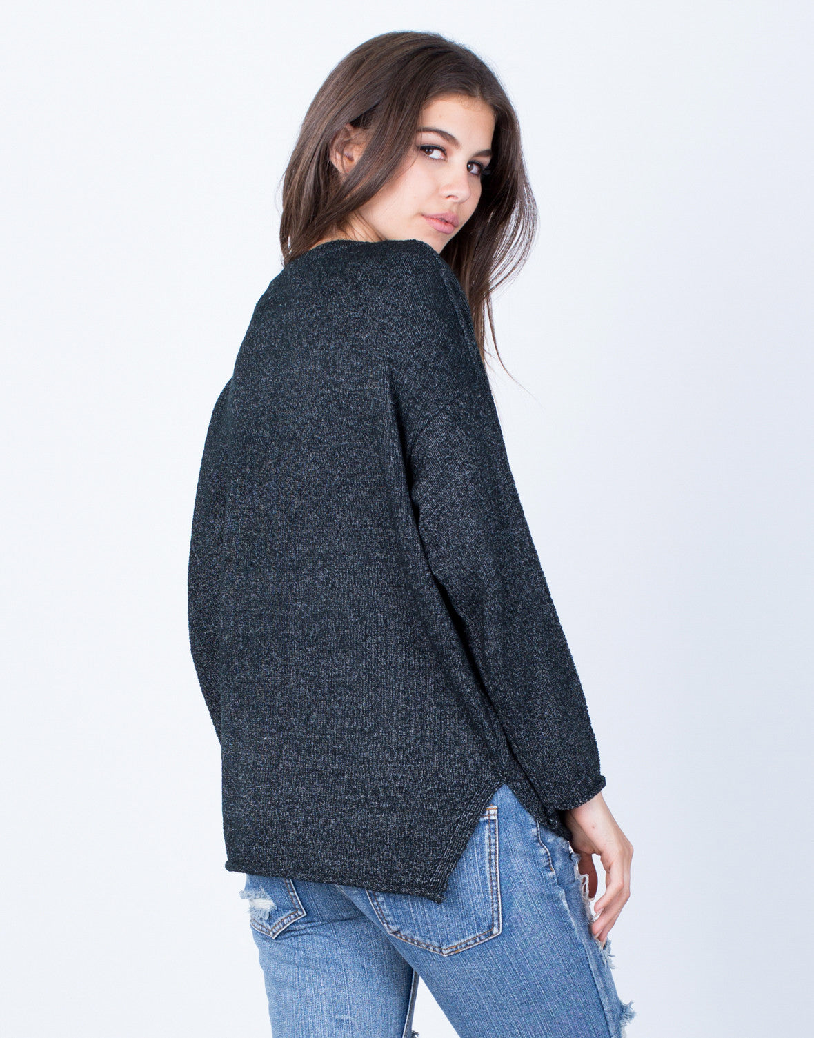 Back View of Oversized Pocket Sweater