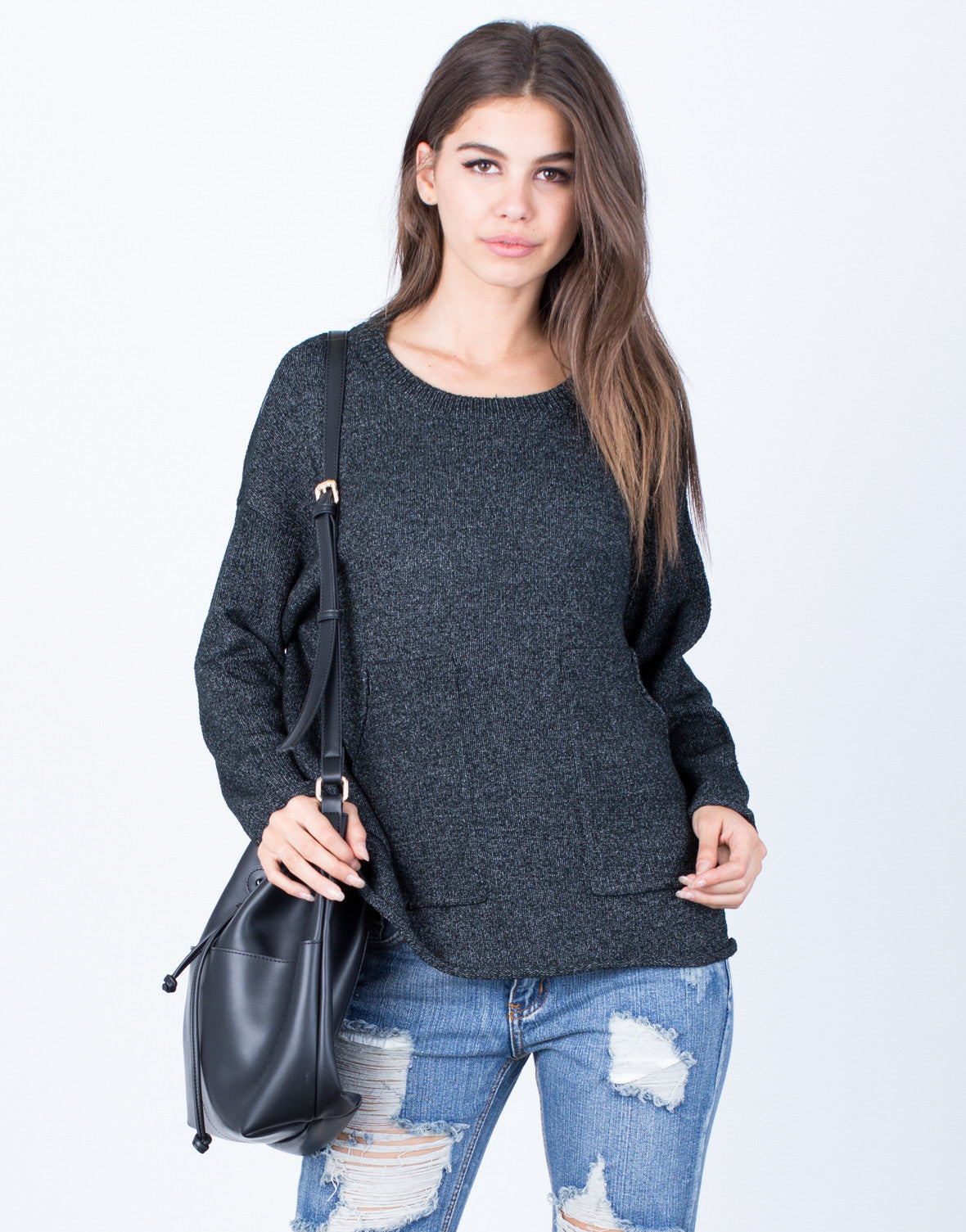 Front View of Oversized Pocket Sweater