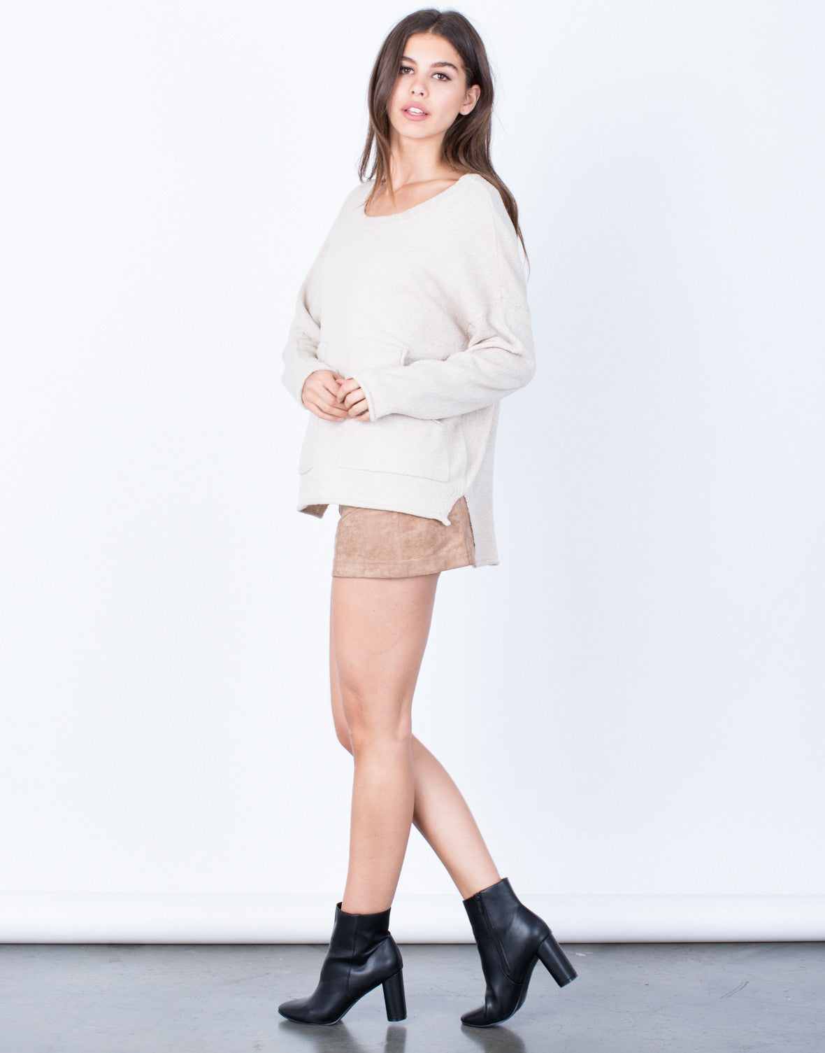 Side View of Oversized Pocket Sweater