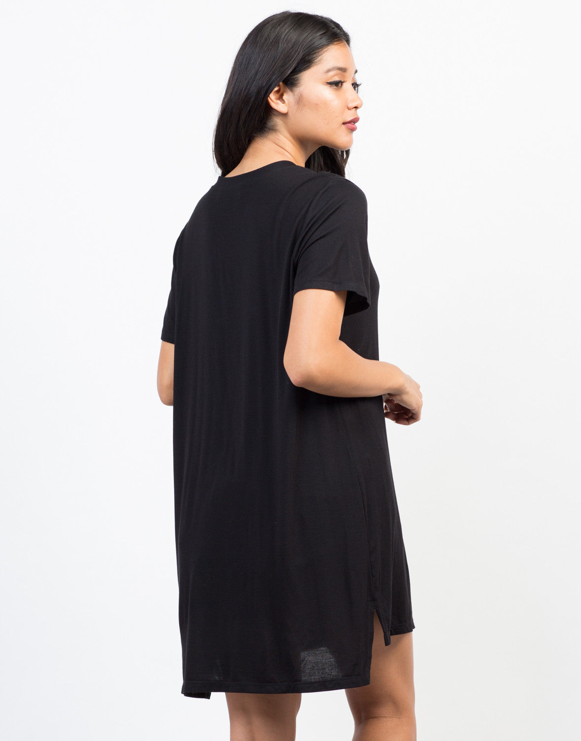 Back View of Oversized Pocket Tee Dress