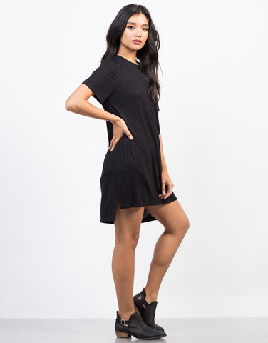 Side View of Oversized Pocket Tee Dress