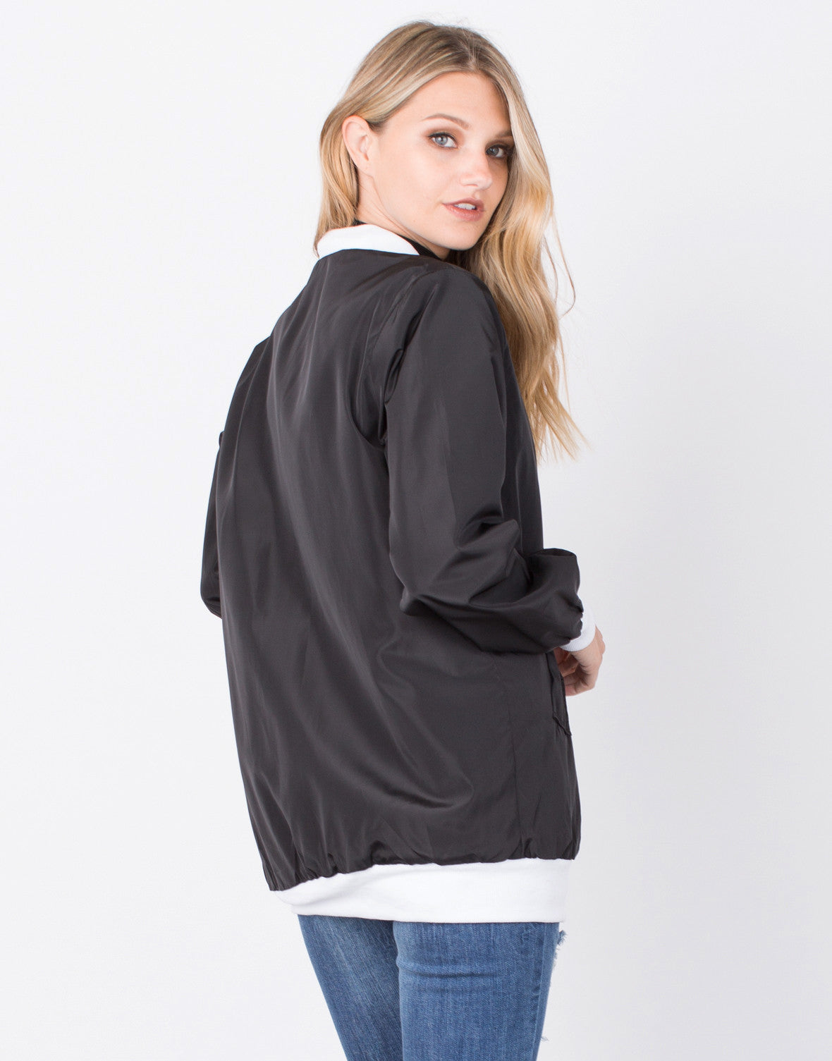 Back View of Oversized Satin Bomber Jacket