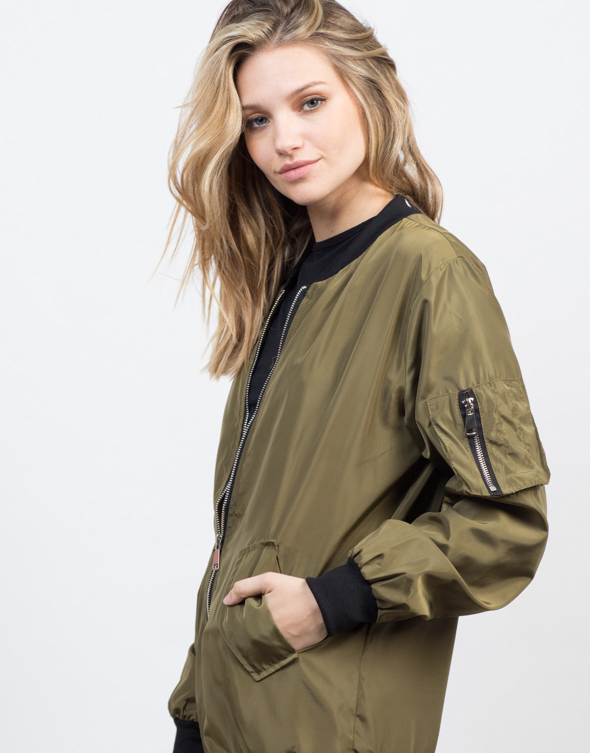 Detail of Oversized Satin Bomber Jacket