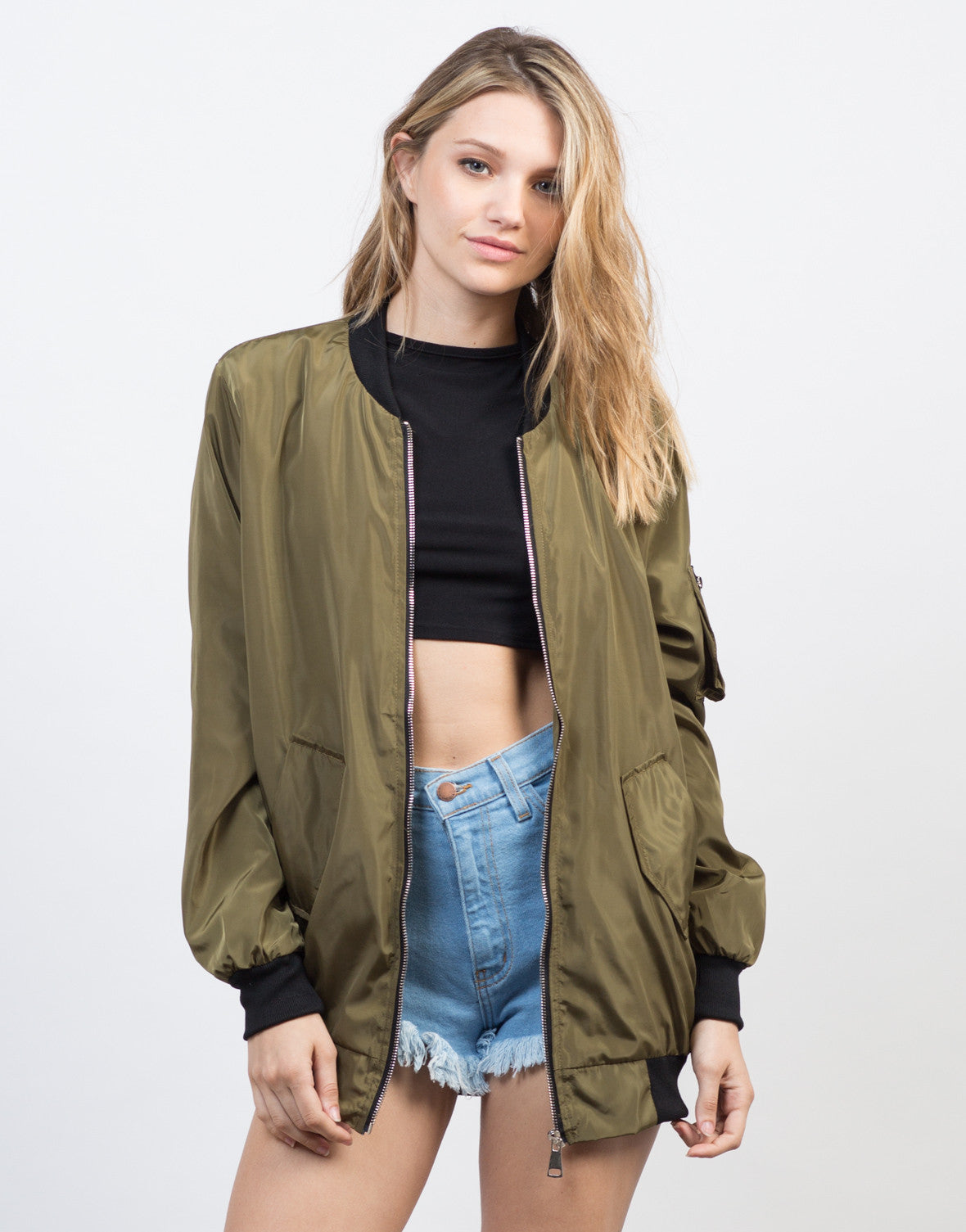 Front View of Oversized Satin Bomber Jacket